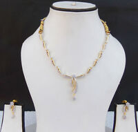 Indian UK Bridal AD Necklace Earrings Ethnic Gold tone Party Fashion Jewelry Set