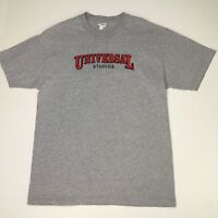 UNIVERSAL STUDIOS Mens Sz Large Heather Grey Embroidered T-Shirt