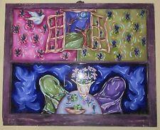 HUGE ORIGINAL Signed L A Artist RACHEL SHULTZ Chic Painting Floral Shabby 42X34!