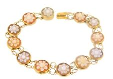 14k Genuine Natural Shell Cameo Bracelet with Carved Flowers (#J3895)