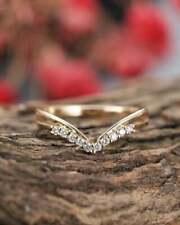 Round Cut D/Vvs1 Diamond Vintage Chevron Band Wedding Ring 14K Yellow Gold Over