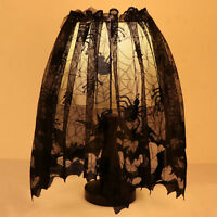 Black Lace Bat Spiderweb Lamp Shade Topper Curtains Swag Cover Halloween Decor