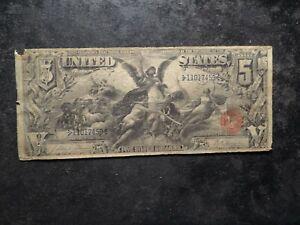 1896 $5.00 G VG Crisp Paper Five Dollar Educational Silver Certificate  AZX