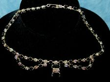 Vtg Rhinestone Black Clear Round Marquette Gold Bib Choker Necklace Prong Set