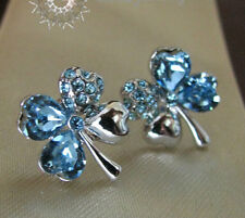 Crystal/Blue Four Leave Clover Earring/RGE292S
