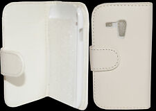 White Wallet Leather Flip Pouch Case Cover Samsung Galaxy S3 Mini i8190
