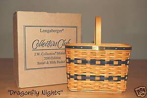 Longaberger J.W. Mini Bread & Milk Basket 2000 Mint