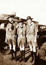 GREAT PHOTO OF 3 1930'S BOY SCOUTS OF AMERICA BSA SCOUT OUTSIDE THE FEED STORE