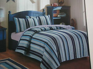 Ivy Hill Home PETE Reversible Twin Quilt Set ~ Navy Blue, Grey, White Stripe NEW