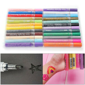 24 Pack Acrylic Paint Pens Sets Fine Art Marker Metal Glass Rock Waterproof Safe