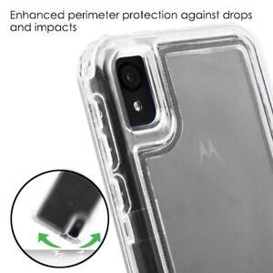 For Motorola Moto E6 - Transparent Clear Hybrid Armor Shockproof Phone Case Skin