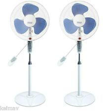 "Keimav 16"" Electric Stand Fan with Remote Control Set of 2pcs (White)"