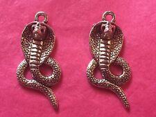 Plata tibetana cobra serpiente encanto colgante/- 2 por paquete