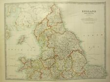 1896 LARGE VICTORIAN MAP ~ ENGLAND & WALES NORTHERN SHEET ~ YORK DURHAM LINCOLN