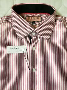 "NEW - Thomas Pink Red and White Slim fit, Plaid, LS button. Men's 15.5"" A024"