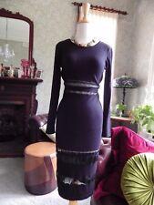 BEAUTIFUL BARDOT DRESS- BNWOT BLACK BODYCON MIDI KNIT WITH sheer contrast 10 12