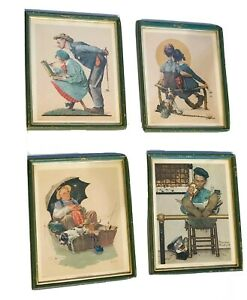 Norman Rockwell Set of 4 Prints 8.5 X 11  USA Framed