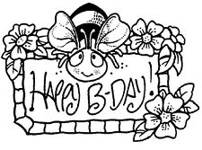 Unmounted Rubber Stamps, Birthday Stamps, Flowers, Bumblebee, Happy Birthday Bee
