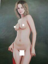 corps nu intégrale femme tableau peinture huile sur toile signée / nude female
