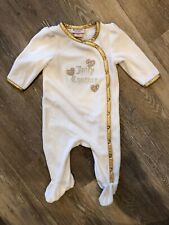 Juicy Couture Baby Girl 3-6 Month Pajamas Snap PJs White Gold Rhinestones