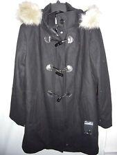New Dress Barn $199 Faux Fur Hooded Black Wool Bld Toggle Coat Jacket Plus 2X