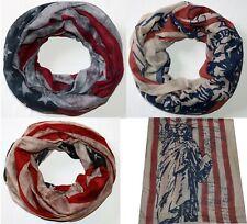 Halstuch Loop USA Stars Stripes Schal Tuch Schlauchschal Freiheitsstatue NYC
