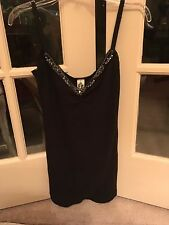 RARE Free Peope beaded embellished rhinestone gatsby Art Deco thermal tank top L