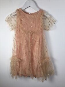 Zara Kids Girls Nude Pink Gold Polka Dot Sheer Sleeve Dress Size 6 Viscose