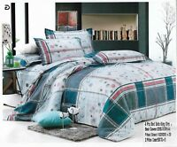 Natural Strip Duvet Cover Set,Quilt Bedding Set With Pillow Case & Fitted Sheet