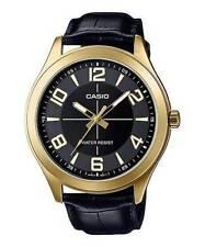 Casio MTP-VX01GL-1B Men's Gold Tone Leather Band Big Case Black Dial Watch