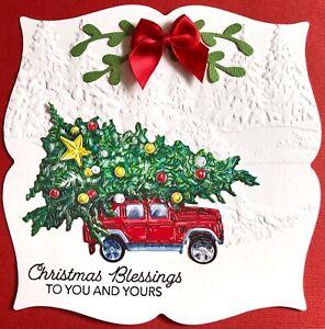 Handmade By Susie Embossed Christmas Tree Scene Card Topper FLAT RATE UK P&P