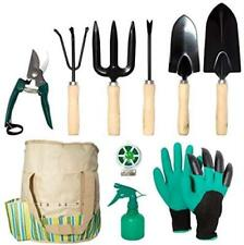 lyndeluxe Garden Tools Set 10 Pcs, Heavy Duty Gardening Tool Kit with Storage