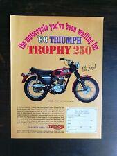Vintage 1968 Triumph Trophy 250 Motorcycle Full Page Original Ad