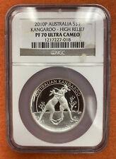 2010 P 1oz Silver High Relief Australia Kangaroo Silver $1 NGC PF 70 Ultra Cameo