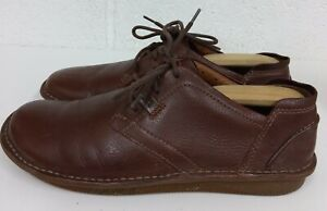 MENS CLARKS UNSTRUCTURED BROWN LACE UP SHOES - SIZE 10 G UK