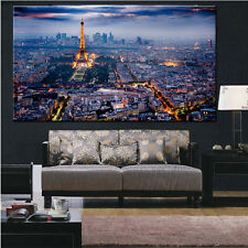 Paris Eiffel tower in night building city canvas painting poster wall print