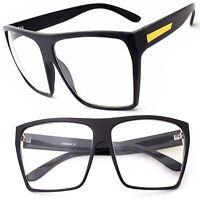 Rectangle LARGE Black Glasses Men WoMen Clear Lens Oversized Nerd Geek Eyewear u