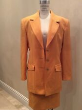 Guy Laroche Jeans Size 10 Canary Yellow Wool Two Piece Suit Jacket Skirt Lined