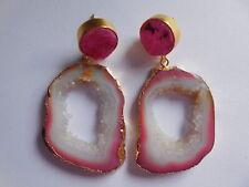 Gemstone Earring, Gold Plated Jewelry Druzy Slice Chandelier Earrings, Geode