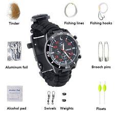 New Survival Paracord Bracelet Compass Fire Starter Prepper Camping Watch Kits
