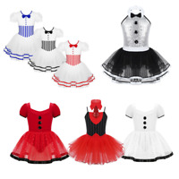 Kids Girls Lace Puff Sleeves Ballet Dance Leotards Tutu Dress Christmas Costumes