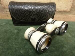 nice vintage opera glasses 2.5 x 2.5 magnification with case