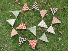 3.1m Chevron Mini Natural Hessian Burlap Banner Rustic Wedding Christmas Bunting