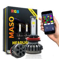 2Pcs H11 H9 H8 RGB Led Car Headlight Bulb 80W 6000K White COB Chips with APP AU