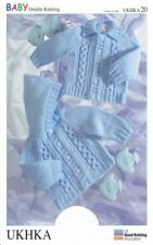UKHKA 20 Baby DK Double Knitting Pattern Hooded Jackets Cable Knit Ribbed Detail