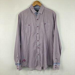 English Laundry John Lennon Mens Button Up Shirt Size Large Purple Long Sleeve