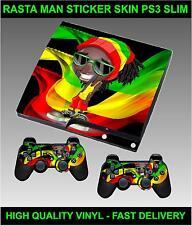 Playstation PS3 SLIM AUTOCOLLANT Rasta Homme Dreadlock weed Homme Peau & 2 pad skins