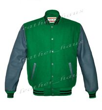 Genuine Leather Sleeve Letterman College Varsity Women Wool Jackets GSL-BSTR-GYB