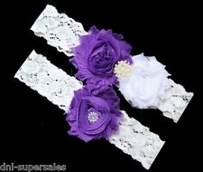 Purple Eggplant Wedding Garter Set ( Toss+Keep) Bridal Prom Set Rustic, S7P Lace