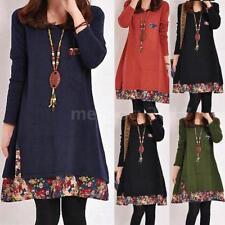 Womens Oversized Long Sleeve Floral Tunic Loose Tops Jumper Dress Kaftan V4G0